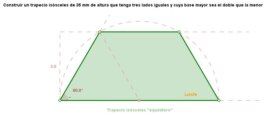 Trapecio de tres lados iguales conocida la altura. * - TRAZOIDE
