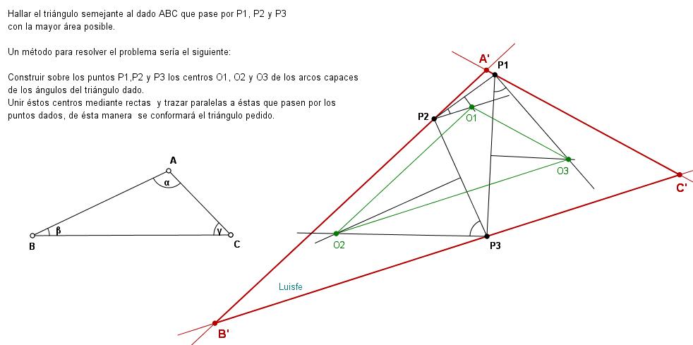 Triángulo ESCALENO que pasa por 3 puntos dados - TRAZOIDE